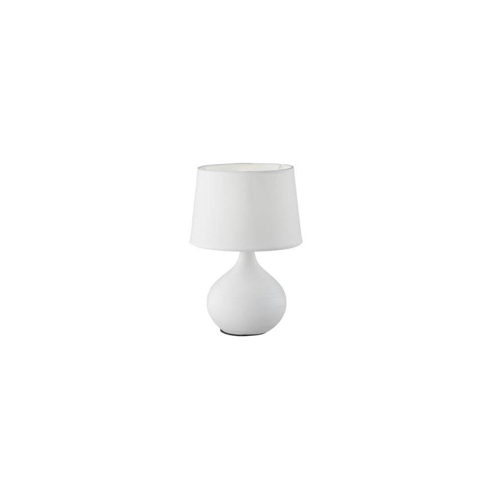 Trio Biela stolová lampa z keramiky a tkaniny Trio Martin, výška 29 cm