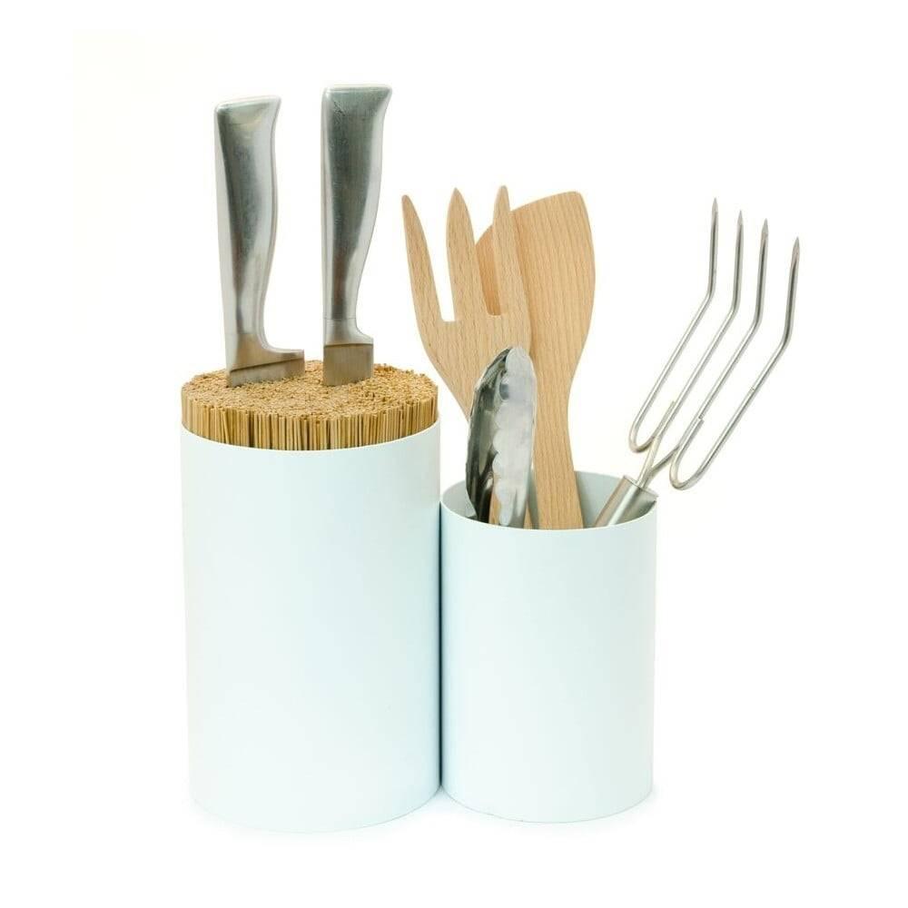 Wireworks Biely blok na nože a kuchynské náčinie z bambusového dreva Wireworks Knife&Spoon
