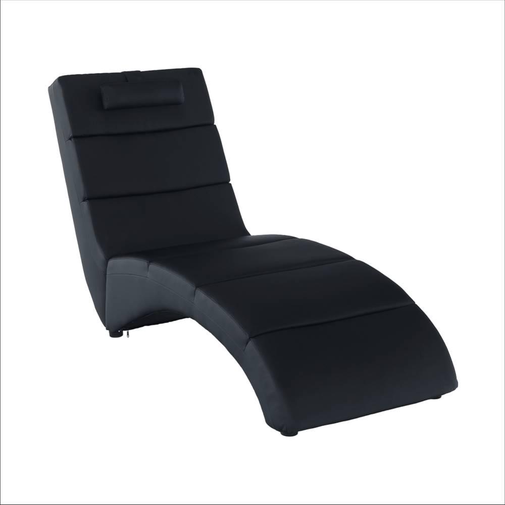 Tempo Kondela Relaxačné kreslo čierna ekokoža LONG