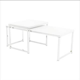 Set 2 konferenčných stolíkov biela matná/chróm MAGNO TYP 2