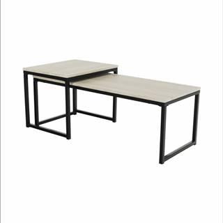 Set 2 konferenčných stolíkov dub sonoma/čierna KASTLER TYP 2
